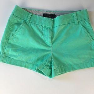 """J CREW Chino Shorts Mint Green 3"""" inseam Sz 0"""